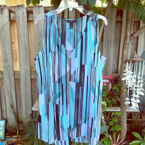 Blouse turquoise black and white